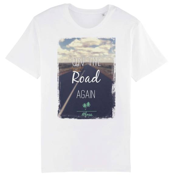 T-shirt homme original free on the road #vanlife