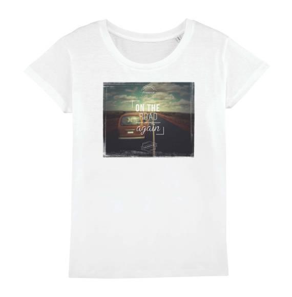 T-shirt femme original on the road again #vanlife