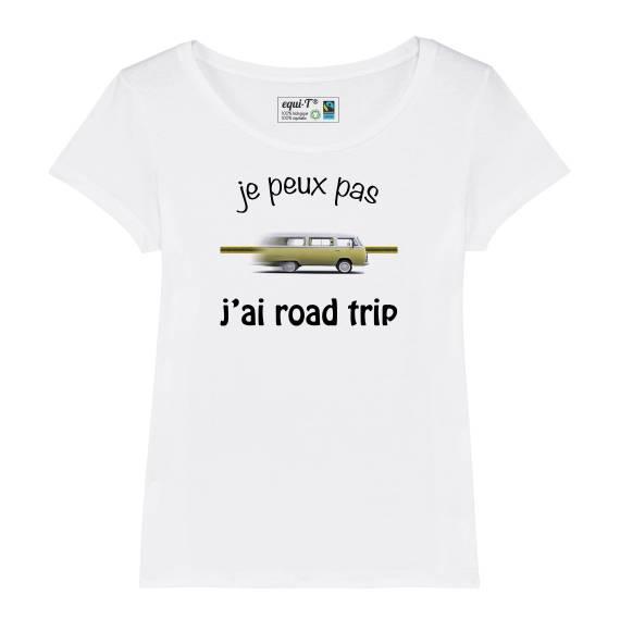 Tshirt femme je peux pas, j'ai road trip combi Volkswagen