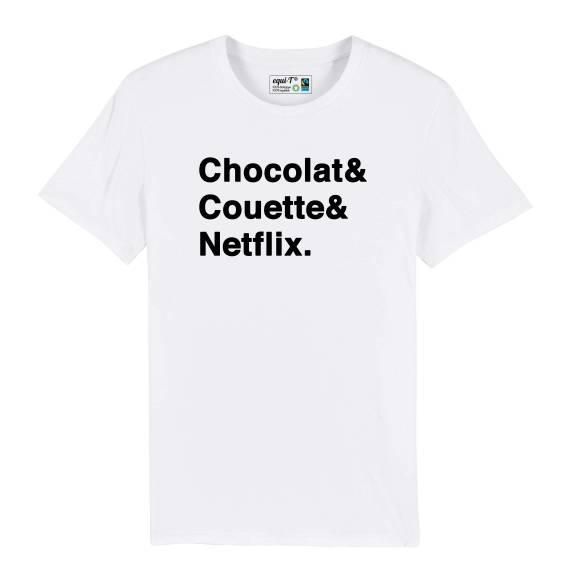 T-shirt homme Chocolat & Couette & Netflix