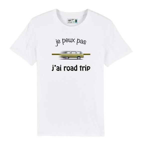 T-shirt homme je peux pas, j'ai road trip combi jaune